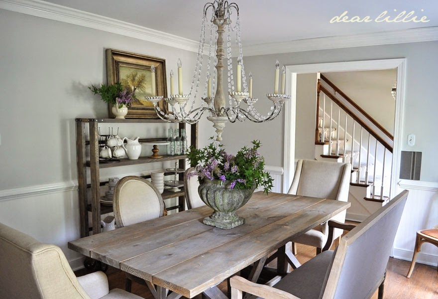Our Updated Dining Room With A New Farmhouse Table And Rolling Shelves